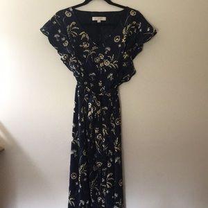 LOFT midi navy dress with yellow floral design